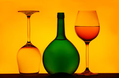 Two wine glasses & bottle Stock Photography