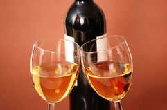 Two wine glasses and bottle. Of wine Stock Image
