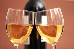 Two wine glasses and a bottle. A wine Royalty Free Stock Photography