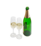 Two wine glasses and bottle with sparkling wine Royalty Free Stock Photography