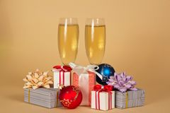 Two wine glasses with champagne Royalty Free Stock Photo