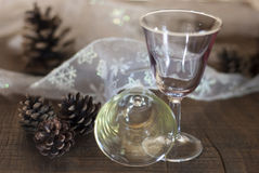 Two wine glasses with christmas decorations Royalty Free Stock Photography