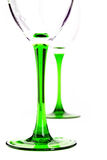 Two wine glasses on a colored leg Stock Photography