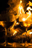 Two Wine Glasses Fire Royalty Free Stock Photos