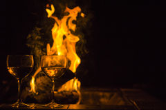 Two Wine Glasses Fire Stock Images