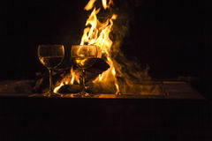 Two Wine Glasses Fire Royalty Free Stock Images