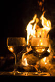 Two Wine Glasses Fire Stock Photo
