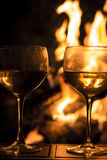 Two Wine Glasses Fire Stock Photos