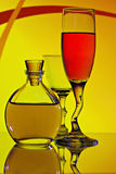 Two wine glasses and Flask Royalty Free Stock Image