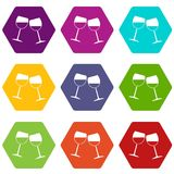 Two wine glasses icon set color hexahedron. Two wine glasses icon set many color hexahedron isolated on white vector illustration Stock Photo