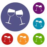 Two wine glasses icons set. In flat circle red, blue and green color for web Royalty Free Stock Image