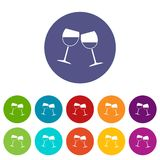 Two wine glasses icons set flat vector. Two wine glasses icons set in circle isolated flat vector illustration Royalty Free Stock Image