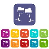Two wine glasses icons set flat. Two wine glasses icons set vector illustration in flat style In colors red, blue, green and other Stock Image