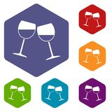 Two wine glasses icons set hexagon. Isolated vector illustration Royalty Free Stock Photos
