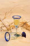 Two Wine Glasses on Ocean Beach Royalty Free Stock Image