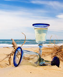 Two Wine Glasses on Ocean Beach Stock Photo