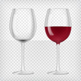Two wine glasses. One empty and one full. Lager beer. Transparent realistic elements.Ready to apply to your design. Vector illustration Royalty Free Stock Photos