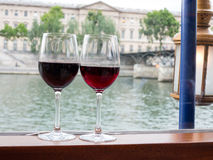 Two wine glasses on river cruise Royalty Free Stock Image