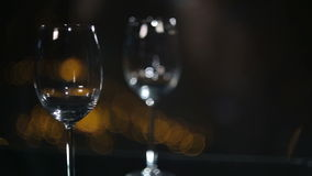 Two Wine Glasses. Slide Over Two Wine Glsses stock video footage