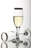 Two wine goblets on mirror surface Stock Photos