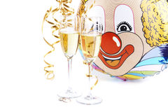 Two wine, wedding rings and the clown royalty free stock images