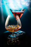 Two wineglass with the alcohol Royalty Free Stock Image