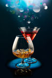 Two wineglass with the alcohol Royalty Free Stock Photography