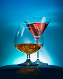 Two wineglass with the alcohol Royalty Free Stock Images