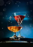 Two wineglass with the alcohol Stock Photo