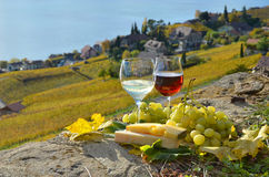 Two wineglasses, cheese and grapes Royalty Free Stock Photography