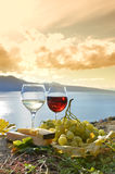 Two wineglasses, cheese and grapes royalty free stock photo