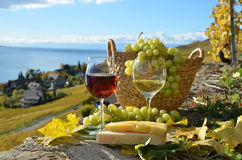 Two wineglasses, cheese and grapes Stock Photography