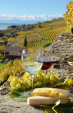 Two wineglasses, cheese and grapes stock images