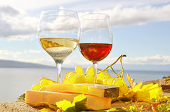 Two wineglasses, cheese Stock Photo