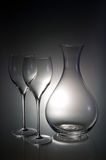 Two wineglasses with a decanter Royalty Free Stock Images