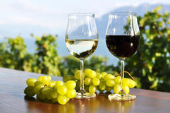Two wineglasses and grapes Royalty Free Stock Photos
