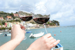 Two wineglasses in the hands Royalty Free Stock Photo