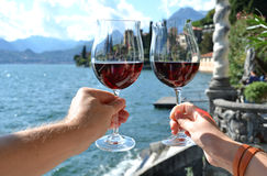 Two wineglasses in the hands Stock Photo