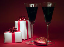 Two wineglasses and heart, christmas theme Royalty Free Stock Images