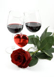Two wineglasses, heart and rose Stock Photography