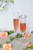 Two wineglasses with rosè wine Royalty Free Stock Image