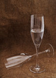 Two wineglasses and shampagne. Royalty Free Stock Photos