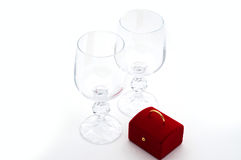 Two wineglasses and surprise Stock Photos