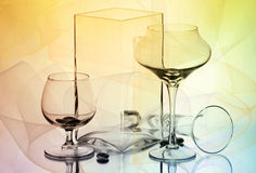 Two wineglasses and two vases Royalty Free Stock Photography