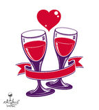 Two wineglasses vector artistic illustration – wedding couple. Conceptual graphic object. Valentine's Day celebration theme – stylized goblet with red Royalty Free Stock Photography