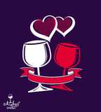 Two wineglasses vector artistic illustration, wedding couple Stock Images
