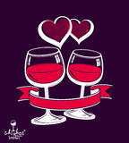 Two wineglasses vector artistic illustration, wedding couple Stock Photography