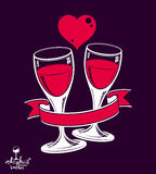 Two wineglasses vector artistic illustration, wedding couple. Conceptual graphic object. Valentines Day celebration theme, stylized goblet with red heart and Stock Photos