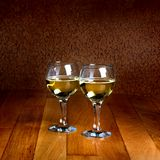 Two wineglasses of white wine Stock Photography
