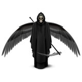 Two-winged angel of death. Angel of death with two wings and a scythe in his hands Stock Photo